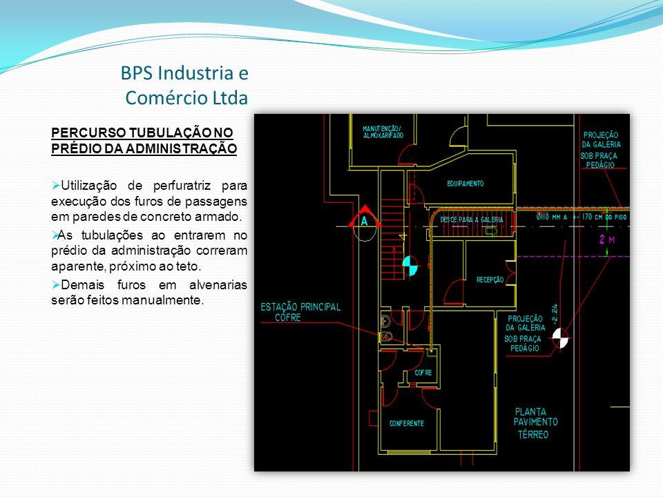 BPS Industria e Comércio Ltda PERCURSO TUBULAÇÃO NO PRÉDIO DA ADMINISTRAÇÃO Utilização de perfuratriz para execução dos furos de passagens em paredes de concreto armado.
