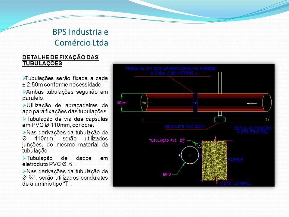 BPS Industria e Comércio Ltda DETALHE DE FIXAÇÃO DAS TUBULAÇÕES Tubulações serão fixada a cada ± 2,50m conforme necessidade.