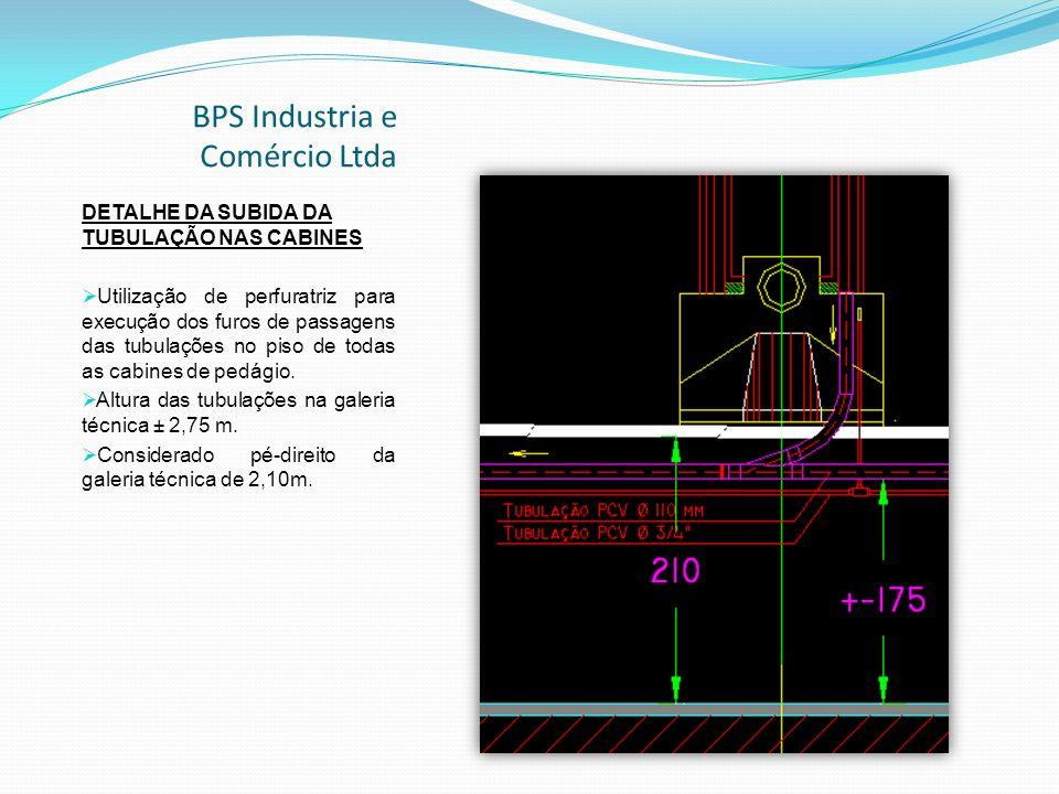 BPS Industria e Comércio Ltda DETALHE DA SUBIDA DA TUBULAÇÃO NAS CABINES Utilização de perfuratriz para execução dos furos de passagens das tubulações no piso de todas as cabines de pedágio.