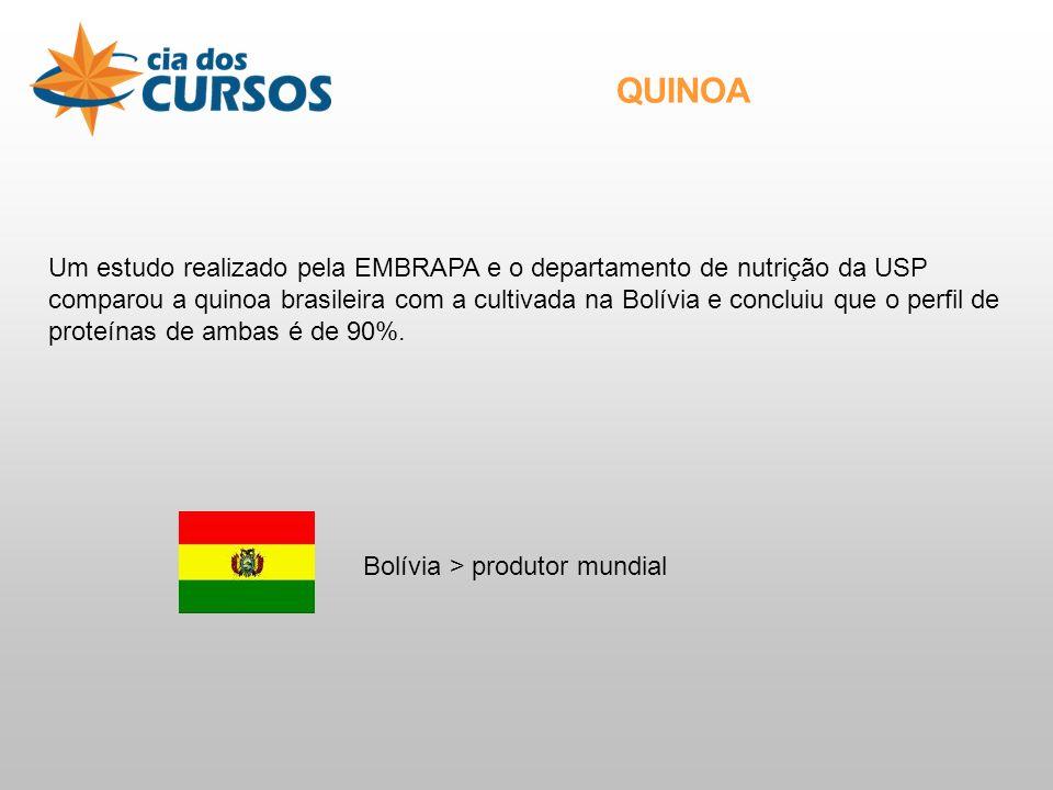 Um estudo realizado pela EMBRAPA e o departamento de nutrição da USP comparou a quinoa brasileira com a cultivada na Bolívia e concluiu que o perfil de proteínas de ambas é de 90%.