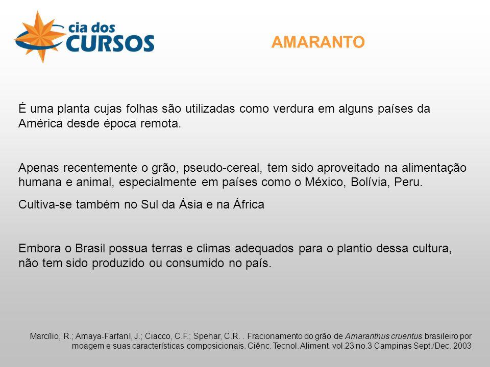 AMARANTO É uma planta cujas folhas são utilizadas como verdura em alguns países da América desde época remota.