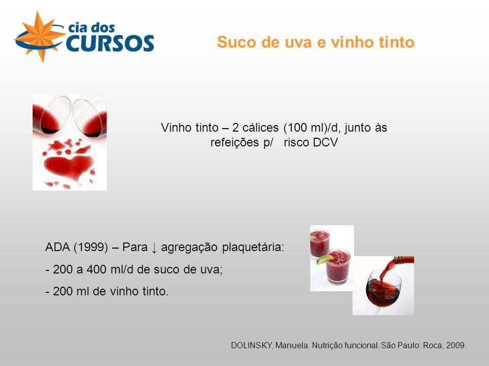 Suco de uva e vinho tinto Vinho tinto – 2 cálices (100 ml)/d, junto às refeições p/ risco DCV ADA (1999) – Para agregação plaquetária: - 200 a 400 ml/d de suco de uva; - 200 ml de vinho tinto.