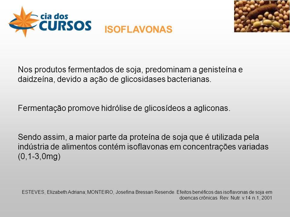 Nos produtos fermentados de soja, predominam a genisteína e daidzeína, devido a ação de glicosidases bacterianas.