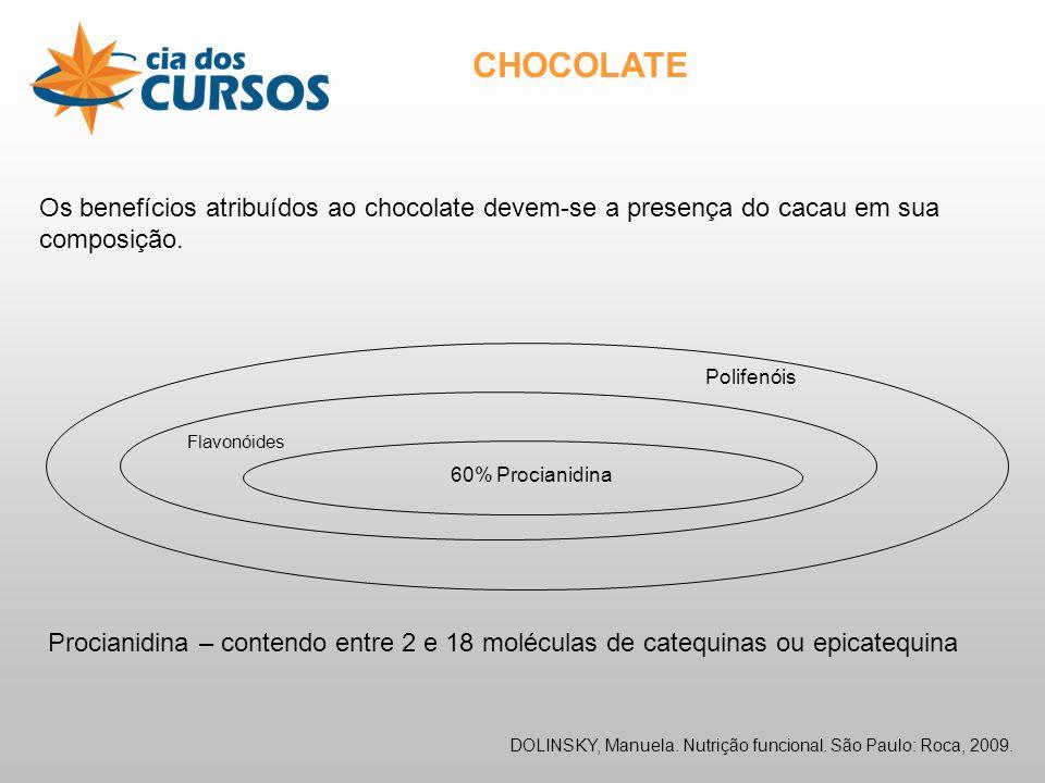 CHOCOLATE Os benefícios atribuídos ao chocolate devem-se a presença do cacau em sua composição.