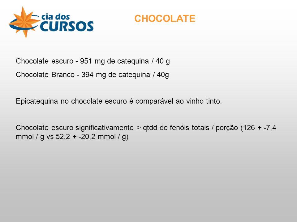 Chocolate escuro - 951 mg de catequina / 40 g Chocolate Branco - 394 mg de catequina / 40g Epicatequina no chocolate escuro é comparável ao vinho tinto.