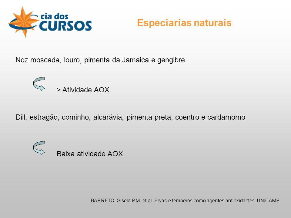 Especiarias naturais BARRETO, Gisela P.M.et al. Ervas e temperos como agentes antioxidantes.