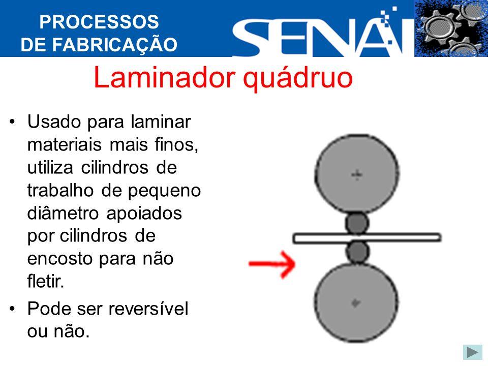 PROCESSOS DE FABRICAÇÃO Laminador quádruo Usado para laminar materiais mais finos, utiliza cilindros de trabalho de pequeno diâmetro apoiados por cilindros de encosto para não fletir.