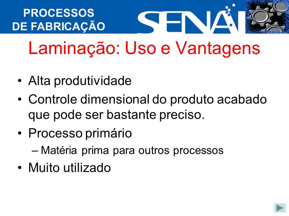 PROCESSOS DE FABRICAÇÃO Laminação: Uso e Vantagens Alta produtividade Controle dimensional do produto acabado que pode ser bastante preciso.