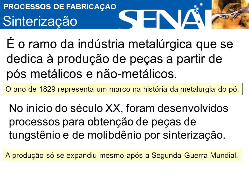 Sinterização PROCESSOS DE FABRICAÇÃO É o ramo da indústria metalúrgica que se dedica à produção de peças a partir de pós metálicos e não-metálicos.