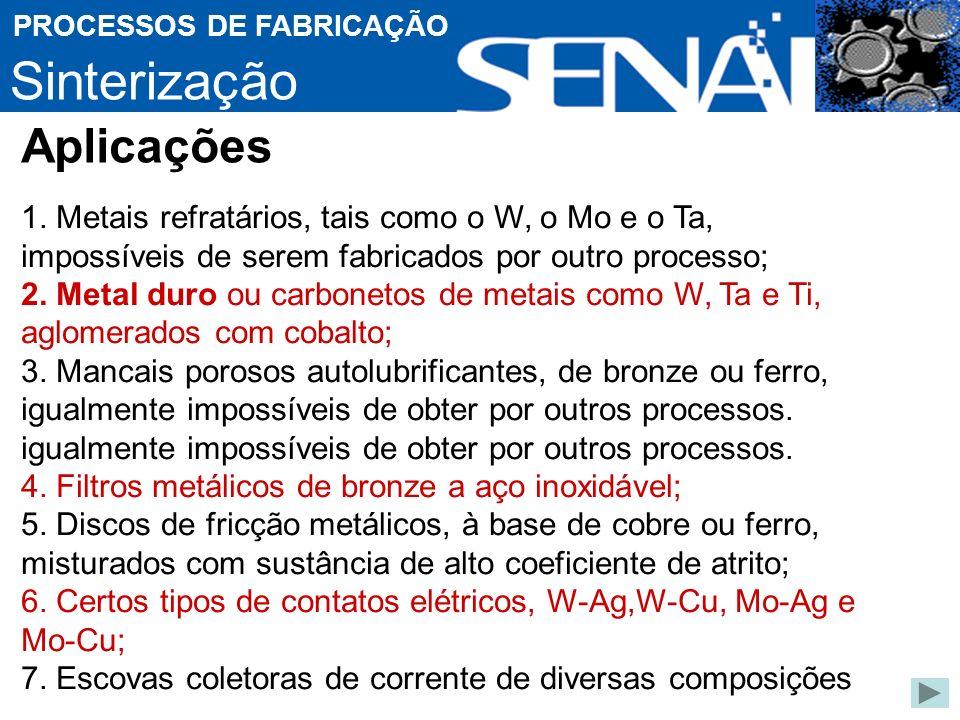Sinterização PROCESSOS DE FABRICAÇÃO 1.