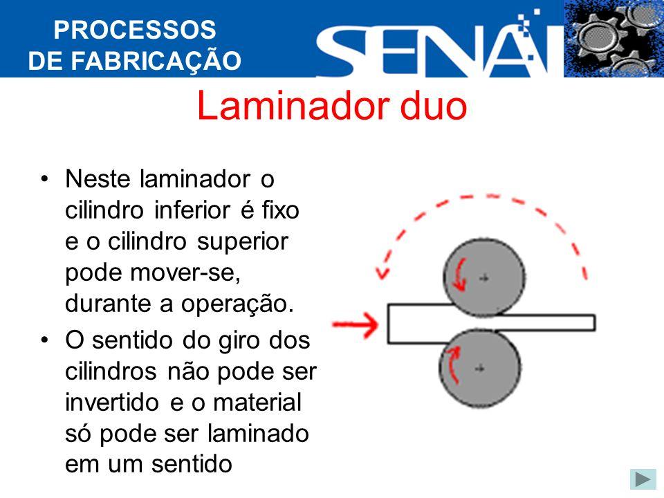 PROCESSOS DE FABRICAÇÃO Laminador duo Neste laminador o cilindro inferior é fixo e o cilindro superior pode mover-se, durante a operação.