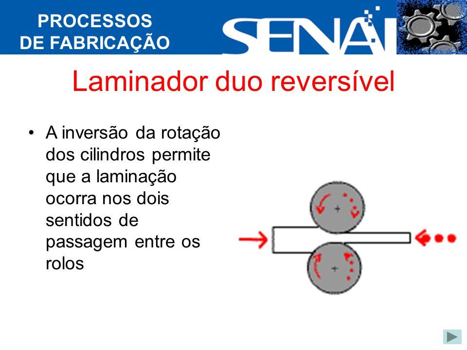 PROCESSOS DE FABRICAÇÃO Laminador duo reversível A inversão da rotação dos cilindros permite que a laminação ocorra nos dois sentidos de passagem entre os rolos