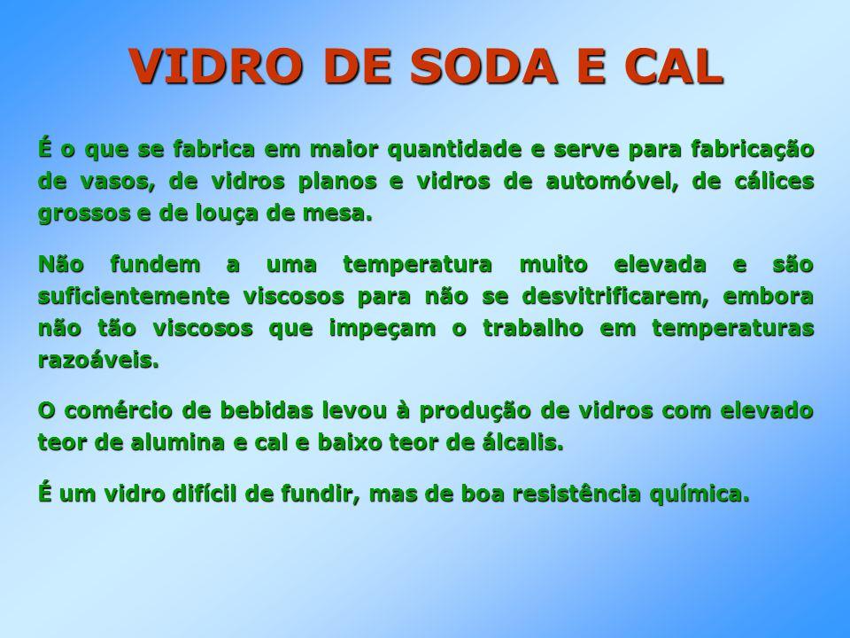 VIDRO DE SODA E CAL É o que se fabrica em maior quantidade e serve para fabricação de vasos, de vidros planos e vidros de automóvel, de cálices grosso