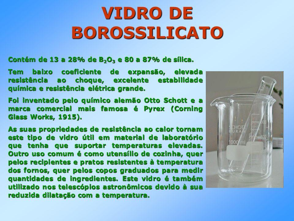 VIDRO DE BOROSSILICATO Contém de 13 a 28% de B 2 O 3 e 80 a 87% de sílica. Tem baixo coeficiente de expansão, elevada resistência ao choque, excelente