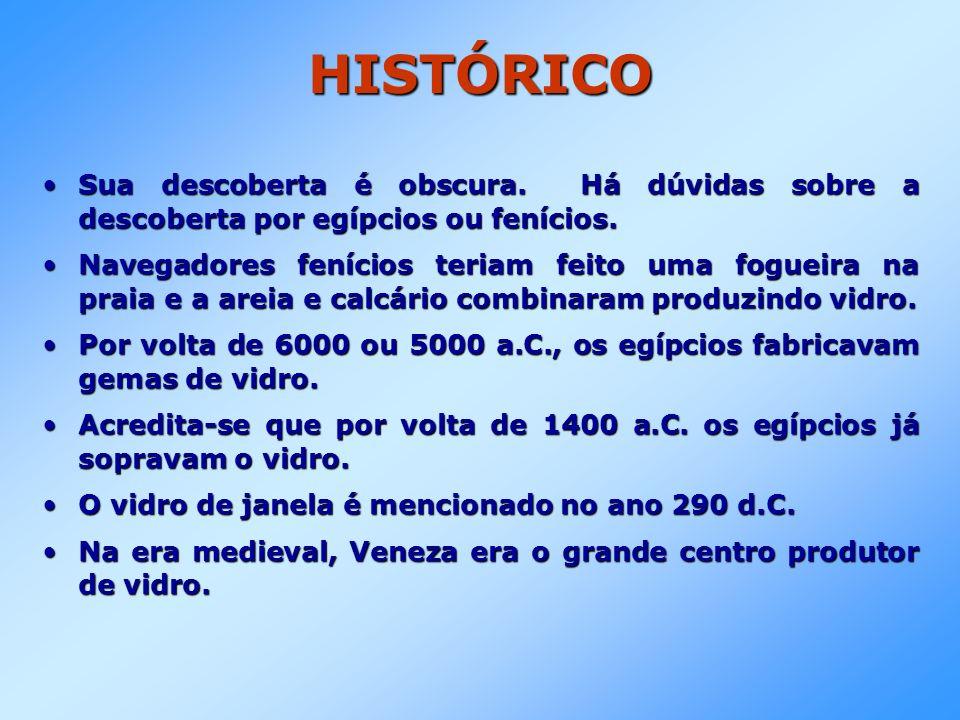 HISTÓRICO Até o século XVI, não se produzia vidro na França e na Inglaterra.Até o século XVI, não se produzia vidro na França e na Inglaterra.