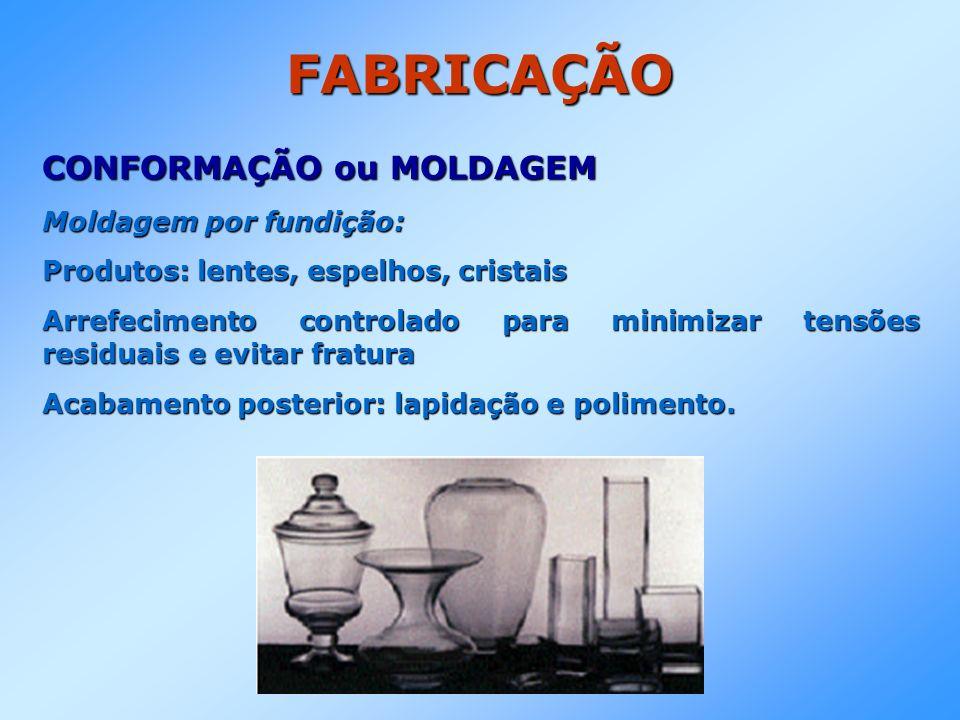 FABRICAÇÃO CONFORMAÇÃO ou MOLDAGEM Moldagem por fundição: Produtos: lentes, espelhos, cristais Arrefecimento controlado para minimizar tensões residua