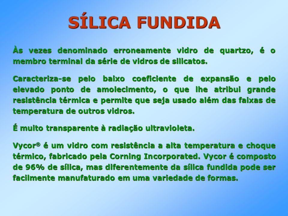 SILICATOS ALCALINOS São os únicos vidros a dois componentes que têm importância comercial.