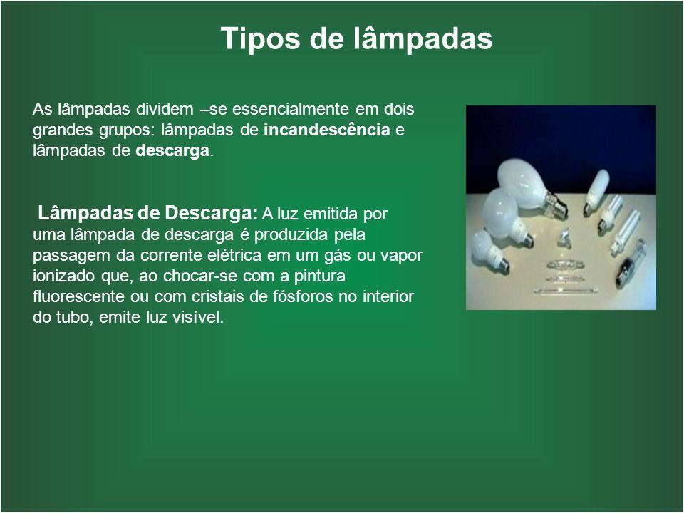 Tipos de lâmpadas As lâmpadas dividem –se essencialmente em dois grandes grupos: lâmpadas de incandescência e lâmpadas de descarga. Lâmpadas de Descar
