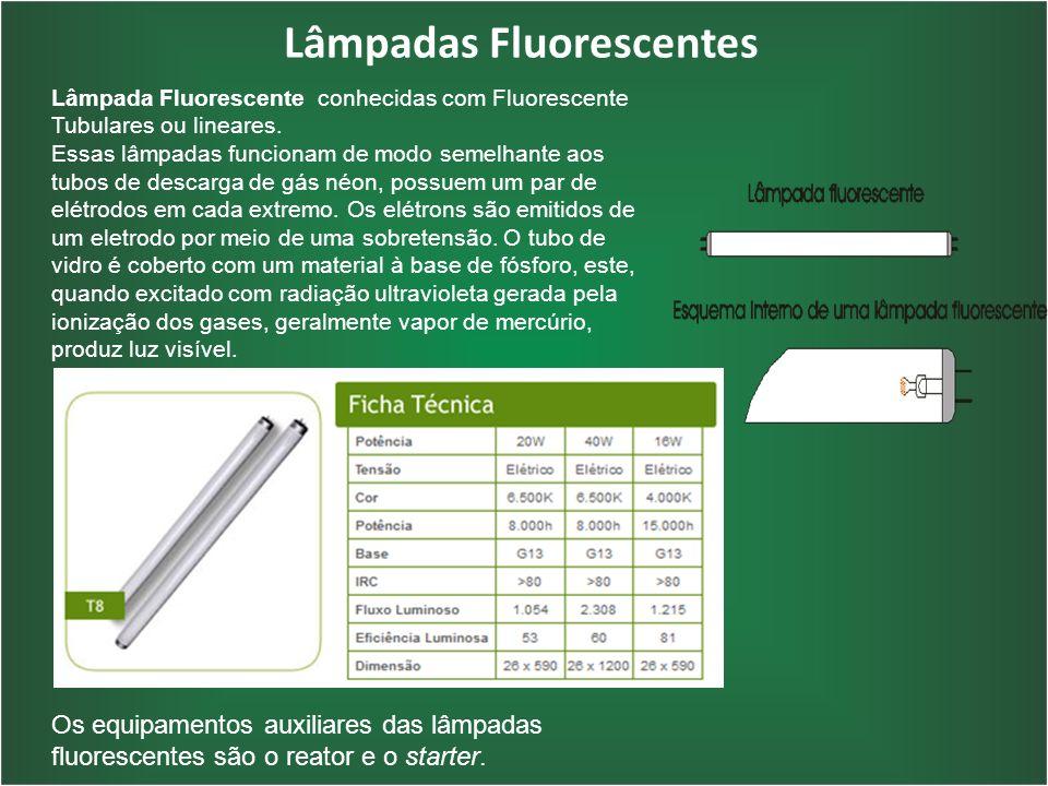 Lâmpadas Fluorescentes Lâmpada Fluorescente conhecidas com Fluorescente Tubulares ou lineares. Essas lâmpadas funcionam de modo semelhante aos tubos d
