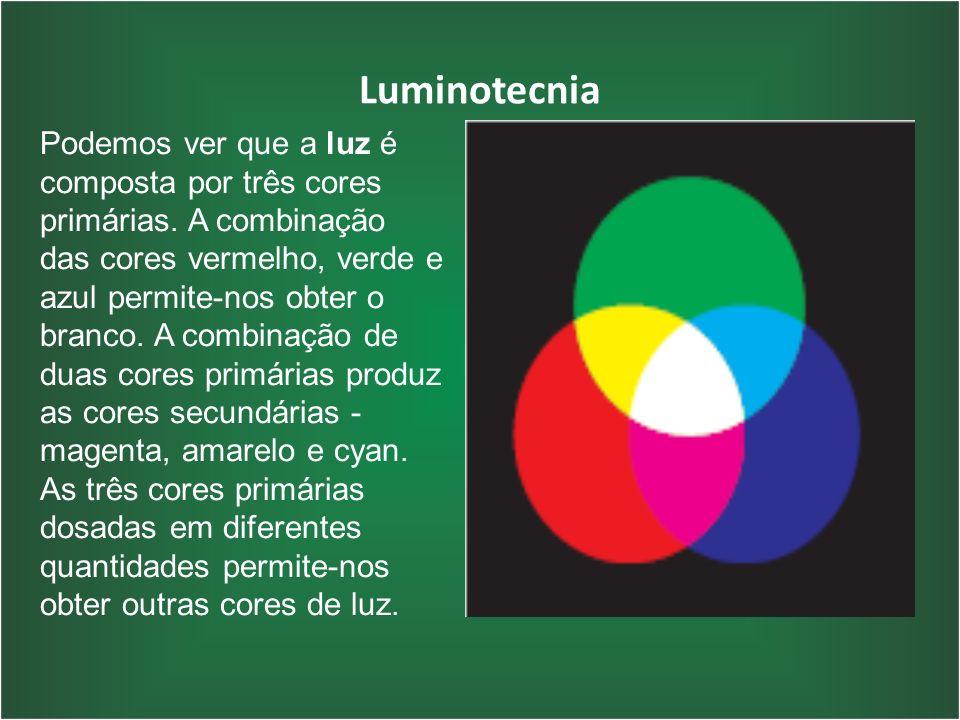 Luminotecnia Podemos ver que a luz é composta por três cores primárias. A combinação das cores vermelho, verde e azul permite-nos obter o branco. A co