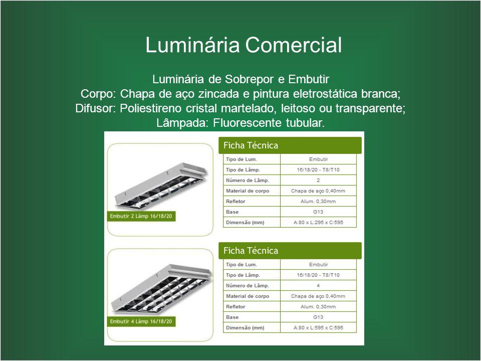 Luminária Comercial Luminária de Sobrepor e Embutir Corpo: Chapa de aço zincada e pintura eletrostática branca; Difusor: Poliestireno cristal martelad