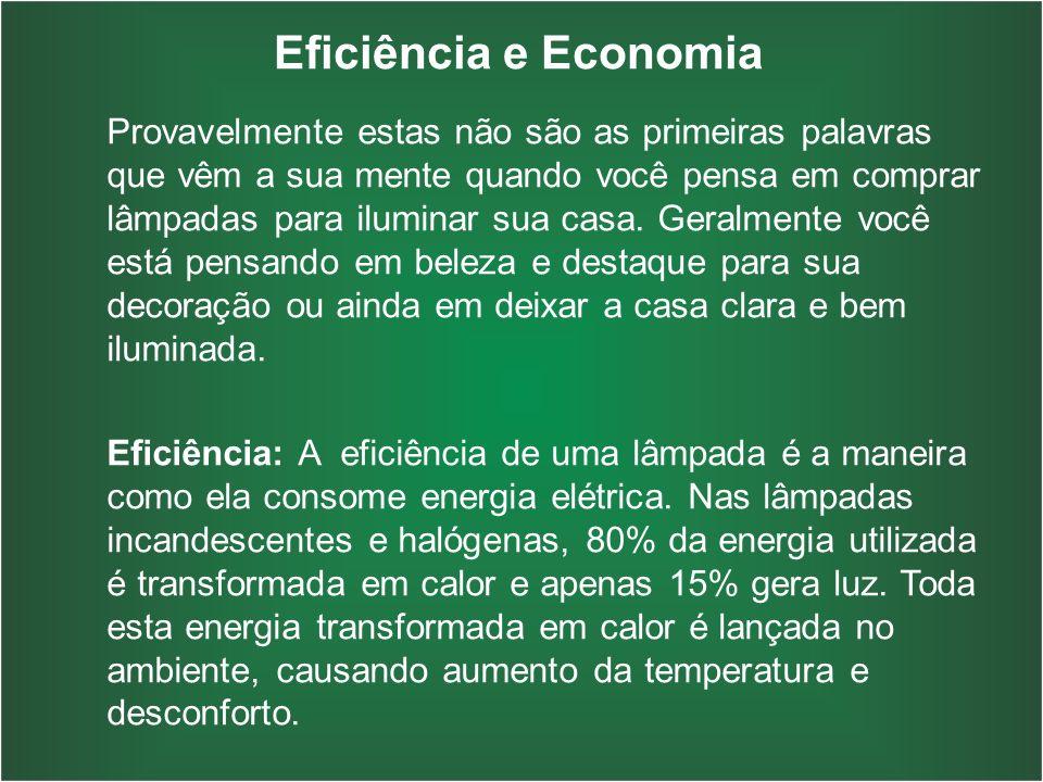 Economia: Estima-se que a iluminação seja responsável por uma pequena parcela do consumo de energia do lar (entre 10% e 20%).