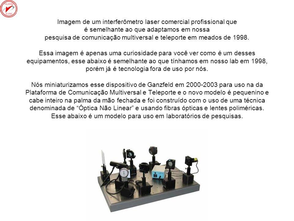 Imagem de um interferômetro laser comercial profissional que é semelhante ao que adaptamos em nossa pesquisa de comunicação multiversal e teleporte em meados de 1998.