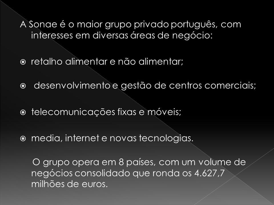 A Sonae é o maior grupo privado português, com interesses em diversas áreas de negócio: retalho alimentar e não alimentar; desenvolvimento e gestão de