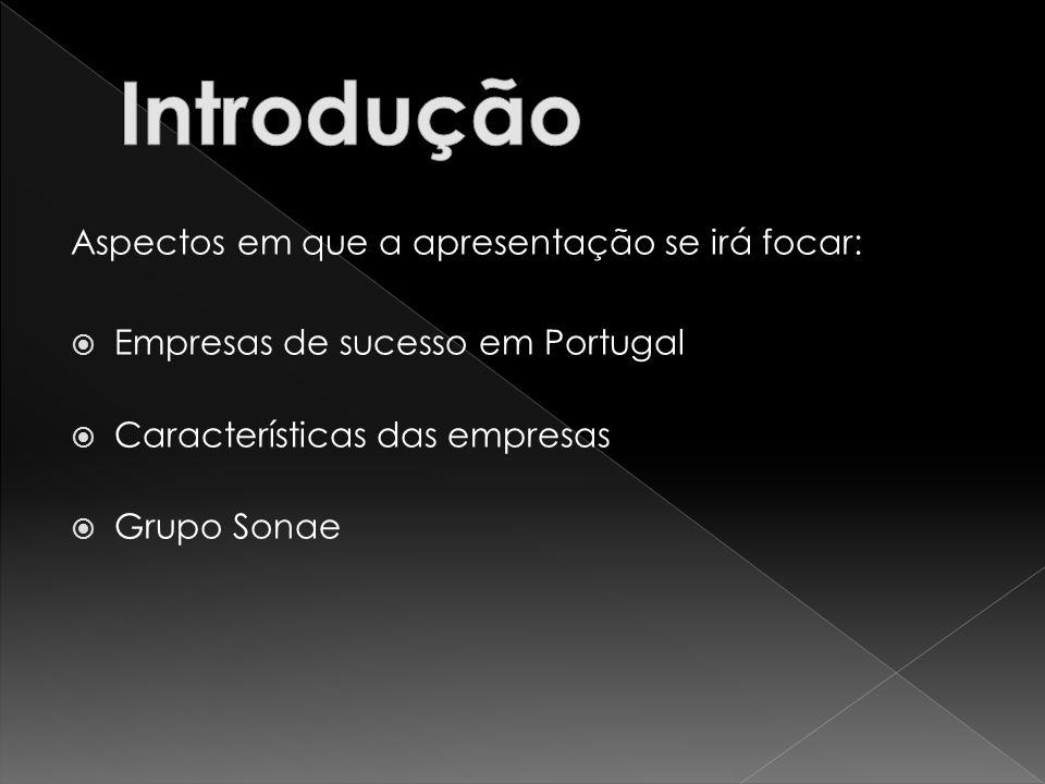 Aspectos em que a apresentação se irá focar: Empresas de sucesso em Portugal Características das empresas Grupo Sonae