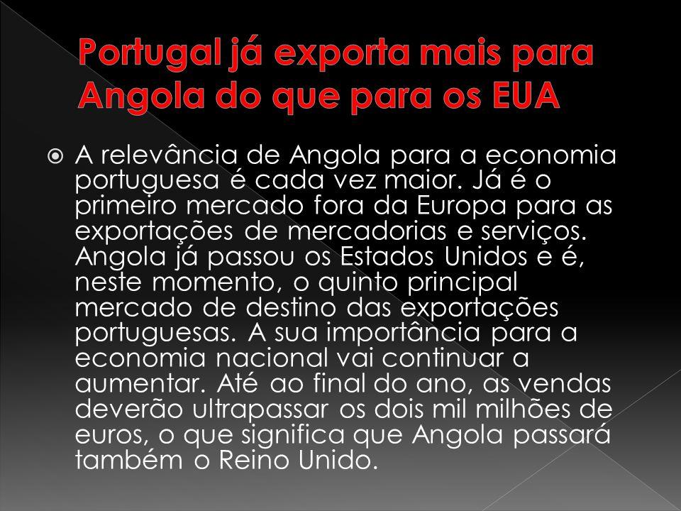 A relevância de Angola para a economia portuguesa é cada vez maior. Já é o primeiro mercado fora da Europa para as exportações de mercadorias e serviç