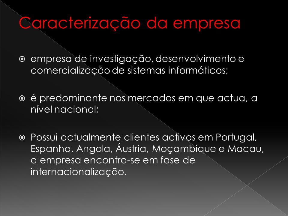 Caracterização da empresa empresa de investigação, desenvolvimento e comercialização de sistemas informáticos; é predominante nos mercados em que actu
