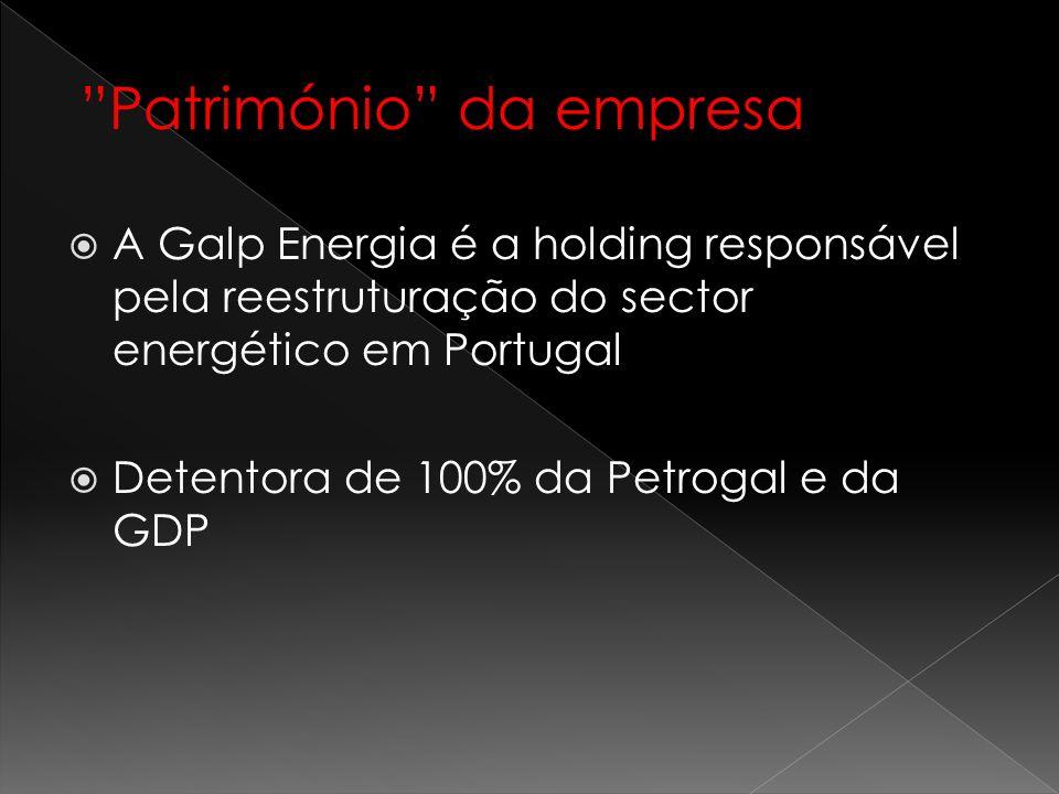 Património da empresa A Galp Energia é a holding responsável pela reestruturação do sector energético em Portugal Detentora de 100% da Petrogal e da G
