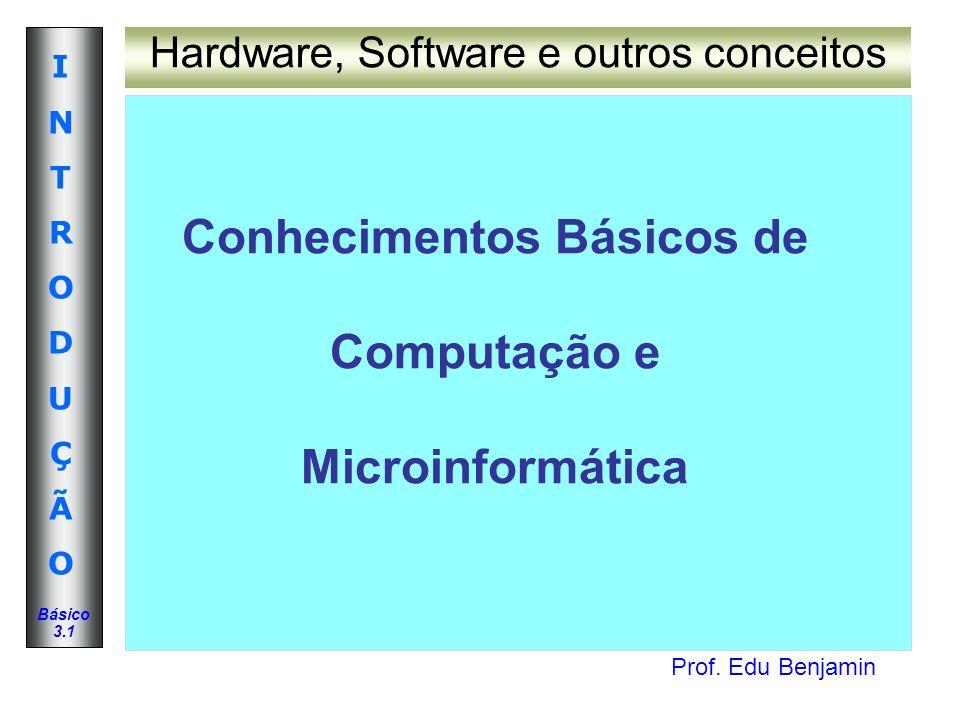 Prof. Edu Benjamin INTRODUÇÃOINTRODUÇÃO Básico 3.1 Conhecimentos Básicos de Computação e Microinformática Hardware, Software e outros conceitos