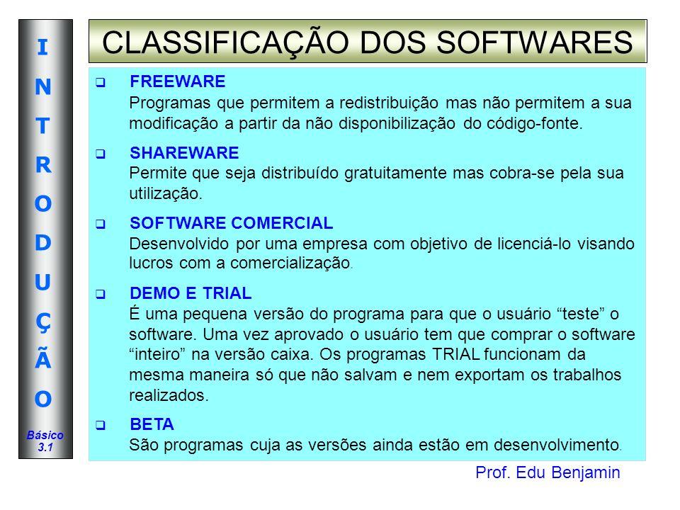 Prof. Edu Benjamin INTRODUÇÃOINTRODUÇÃO Básico 3.1 FREEWARE Programas que permitem a redistribuição mas não permitem a sua modificação a partir da não