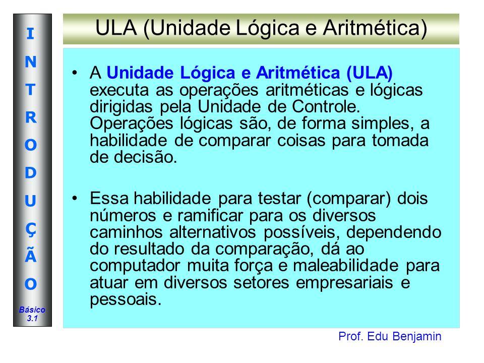 Prof. Edu Benjamin INTRODUÇÃOINTRODUÇÃO Básico 3.1 ULA (Unidade Lógica e Aritmética) A Unidade Lógica e Aritmética (ULA) executa as operações aritméti
