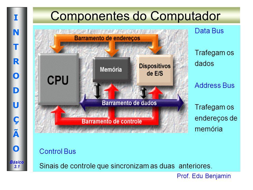 Prof. Edu Benjamin INTRODUÇÃOINTRODUÇÃO Básico 3.1 Componentes do Computador Data Bus Trafegam os dados Address Bus Trafegam os endereços de memória C