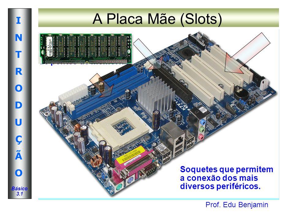 Prof. Edu Benjamin INTRODUÇÃOINTRODUÇÃO Básico 3.1 A Placa Mãe (Slots) Soquetes que permitem a conexão dos mais diversos periféricos. Possibilitam o a