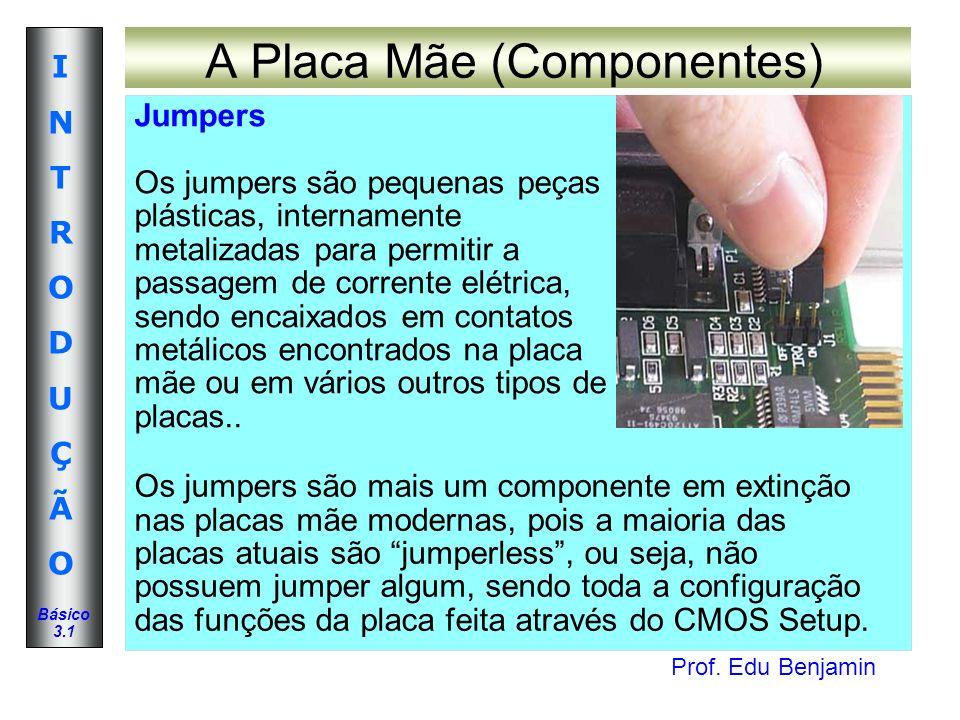 Prof. Edu Benjamin INTRODUÇÃOINTRODUÇÃO Básico 3.1 A Placa Mãe (Componentes) Jumpers Os jumpers são pequenas peças plásticas, internamente metalizadas
