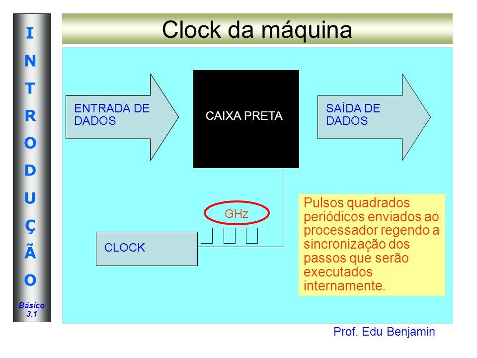 Prof. Edu Benjamin INTRODUÇÃOINTRODUÇÃO Básico 3.1 Clock da máquina ENTRADA DE DADOS SAÍDA DE DADOS CAIXA PRETA CLOCK Pulsos quadrados periódicos envi