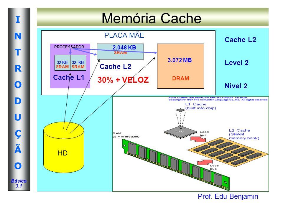 Prof. Edu Benjamin INTRODUÇÃOINTRODUÇÃO Básico 3.1 Memória Cache PLACA MÃE PROCESSADOR Cache L1 HD 32 KB SRAM 32 K32 KB SRAM 2.048 KB SRAM Cache L2 3.