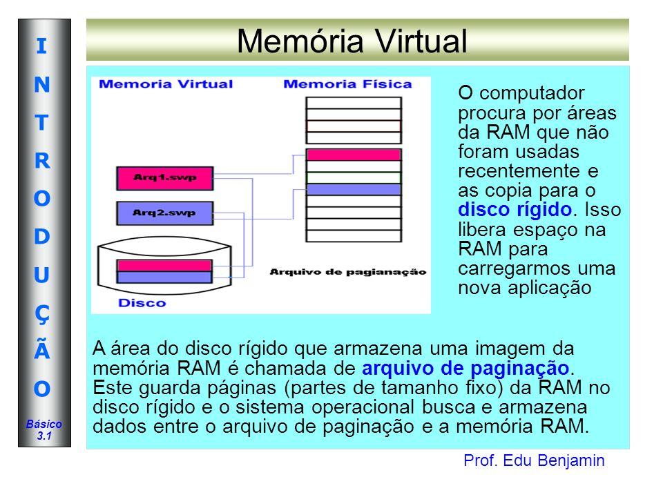 Prof. Edu Benjamin INTRODUÇÃOINTRODUÇÃO Básico 3.1 Memória Virtual O computador procura por áreas da RAM que não foram usadas recentemente e as copia