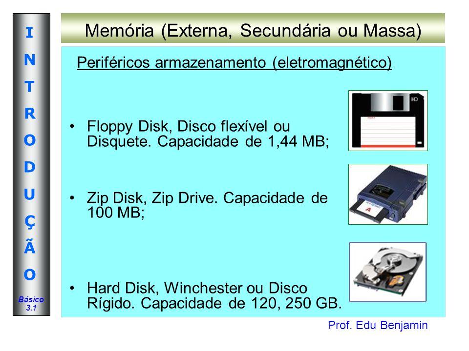 Prof. Edu Benjamin INTRODUÇÃOINTRODUÇÃO Básico 3.1 Memória (Externa, Secundária ou Massa) Floppy Disk, Disco flexível ou Disquete. Capacidade de 1,44