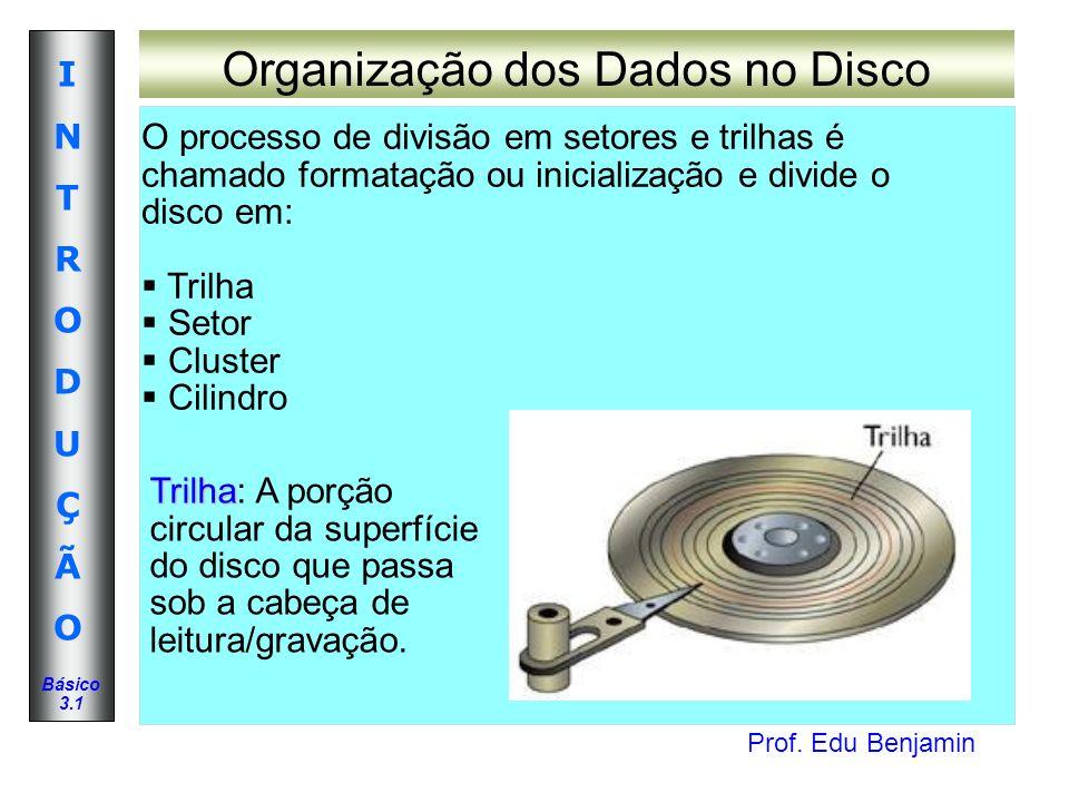 Prof. Edu Benjamin INTRODUÇÃOINTRODUÇÃO Básico 3.1 Organização dos Dados no Disco O processo de divisão em setores e trilhas é chamado formatação ou i