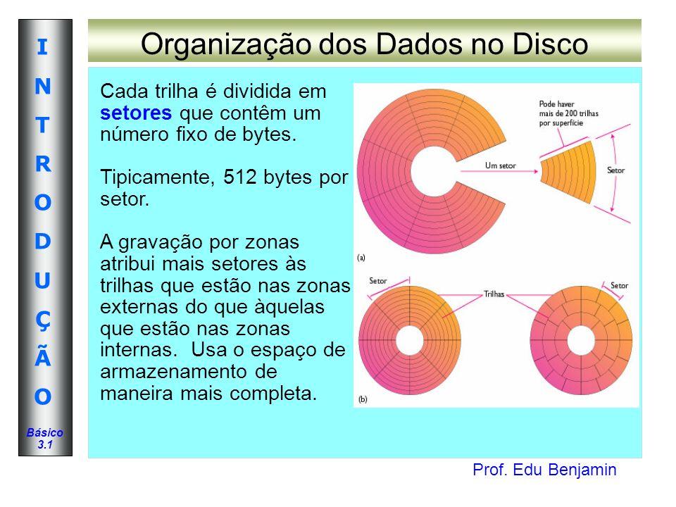 Prof. Edu Benjamin INTRODUÇÃOINTRODUÇÃO Básico 3.1 Organização dos Dados no Disco Cada trilha é dividida em setores que contêm um número fixo de bytes
