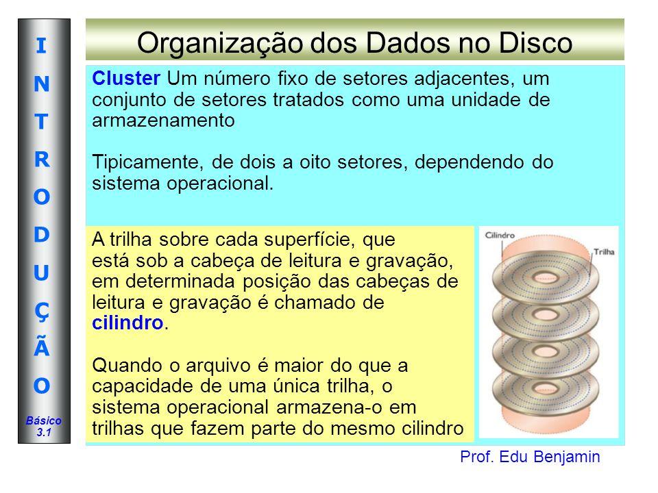 Prof. Edu Benjamin INTRODUÇÃOINTRODUÇÃO Básico 3.1 Organização dos Dados no Disco Cluster Um número fixo de setores adjacentes, um conjunto de setores