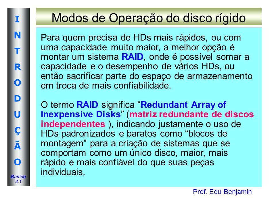 Prof. Edu Benjamin INTRODUÇÃOINTRODUÇÃO Básico 3.1 Modos de Operação do disco rígido Para quem precisa de HDs mais rápidos, ou com uma capacidade muit