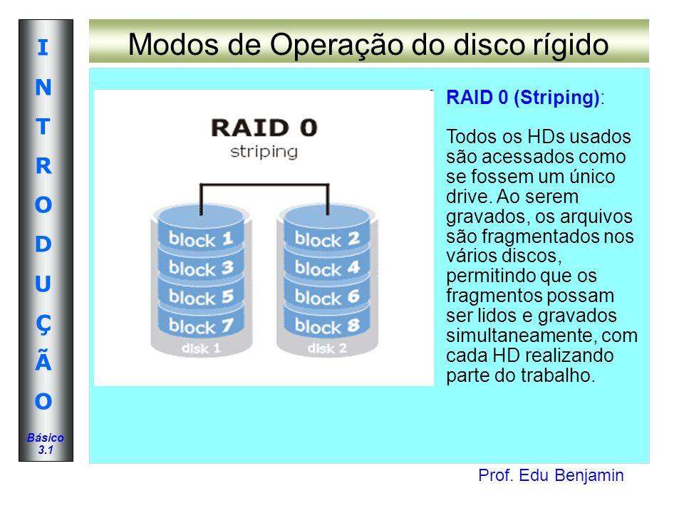 Prof. Edu Benjamin INTRODUÇÃOINTRODUÇÃO Básico 3.1 Modos de Operação do disco rígido RAID 0 (Striping): Todos os HDs usados são acessados como se foss