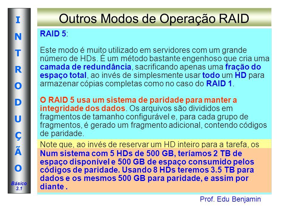 Prof. Edu Benjamin INTRODUÇÃOINTRODUÇÃO Básico 3.1 Outros Modos de Operação RAID RAID 5: Este modo é muito utilizado em servidores com um grande númer