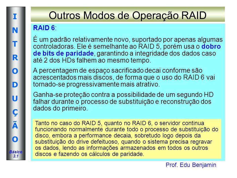 Prof. Edu Benjamin INTRODUÇÃOINTRODUÇÃO Básico 3.1 Outros Modos de Operação RAID RAID 6: É um padrão relativamente novo, suportado por apenas algumas