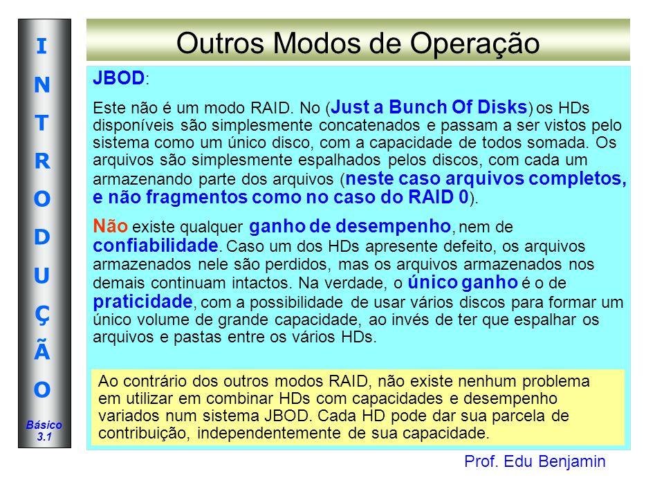 Prof. Edu Benjamin INTRODUÇÃOINTRODUÇÃO Básico 3.1 Outros Modos de Operação JBOD : Este não é um modo RAID. No ( Just a Bunch Of Disks ) os HDs dispon